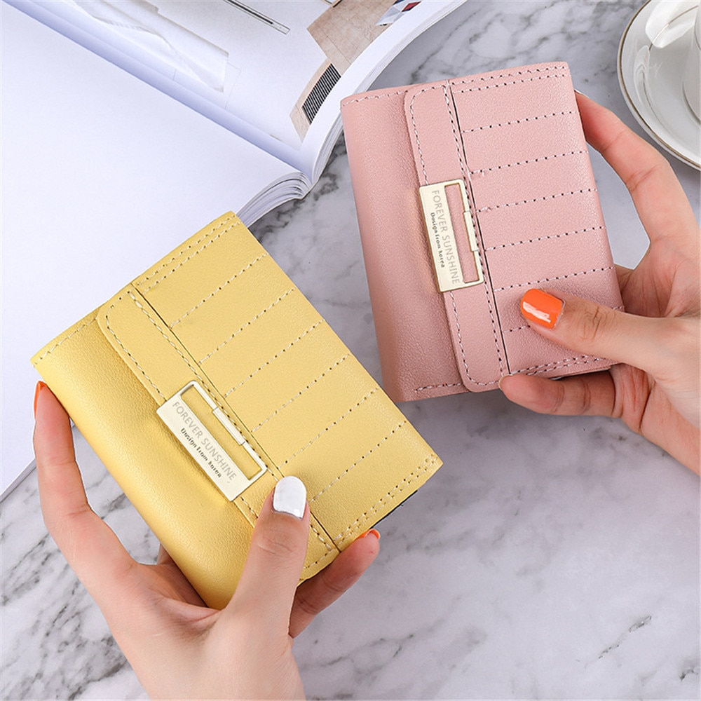 Unisex Wallet PU Leather Coin Purse Short ID Credit Bank Business Card Holder Case Female Evening Pa
