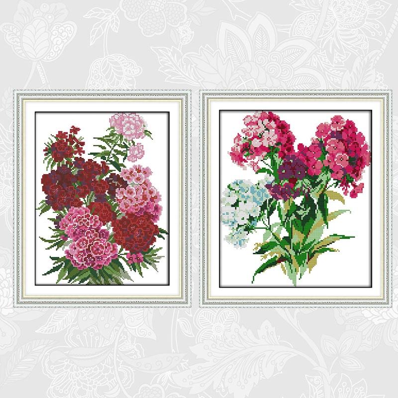 Joy Sunday Chinese Cross stitch kits Carnation bouquet DMC 14CT 11CT Cotton Fabric Hotel Home Decor Painting Factory Wholesale
