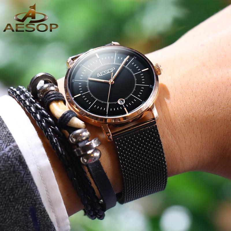AESOP Brand Fashion Automatic Watch Man Waterproof Luminous Business Calendar Mechanical Wristwatches Luxury Relogio Masculino enlarge