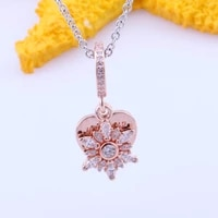 amas s925 sterling silver new snowflake and heart rose gold pendant fashion pendant diy bracelet charm