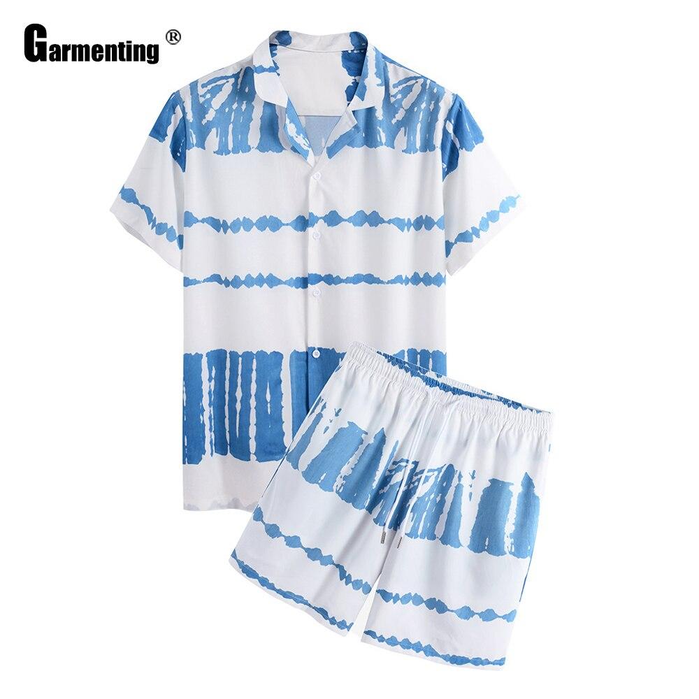 Gar Для мужчин ting Мода 2021 летний отдых Для мужчин s, комплект спортивной одежды, с вышивкой, рубашка и шорты, пижама комплект одежды размера плю...
