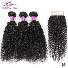 Soft Feel Hair Kinky Curly Bundles With Closure Brazilian Hair Weave Bundles With Closure Remy Human Hair 3 Bundles With Closure