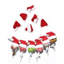 6Pcs Mini Christmas Finger Hat Lollipop Cover Wine Bottle Caps Mini Santa Claus Hat Creative Xmas Tree Ornament Decor