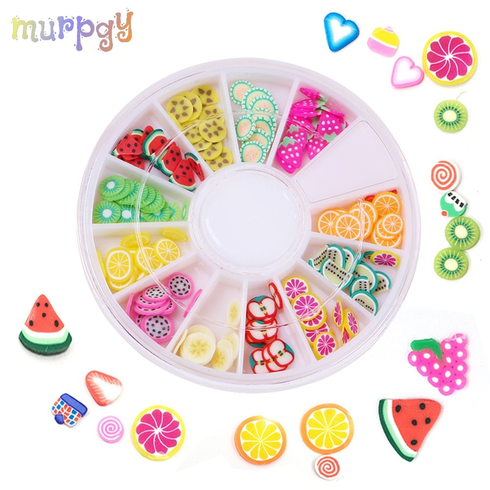 12 Style Fruit Slices Box Charms For Nails Art Tips Charms For Slimes Fluffy Soft Clay Toys Lizun DIY Slime Accessories Supplies