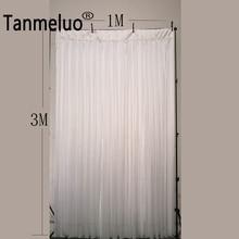 Rideau de toile de fond de mariage   1M de largeur x 3M de hauteur trois fois plis, rideaux de fond transparents en soie glacée pour événement