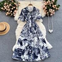 2021 summer runway designer shirt dresses womens short sleeve vintage print belt lace up retro pleated midi dress n55119