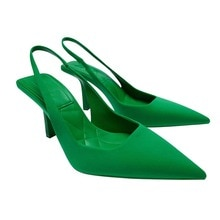 Fashion Ladies Party Shoes Thin Heels Pointed Toe Slingbacks Pumps Slip On Sandals Women Summer Red