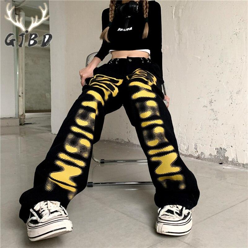 بنطلون جينز نسائي عالي الخصر عتيق Y2K ملابس خروج هيب هوب مطبوع عليه حروف فضفاض مستقيم موضة خريف بنطلون دينم بأرجل واسعة