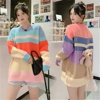 striped print knitted sweater women 2021 new bear cute pullover tops spring autumn korean sweaters fashion clothing h116