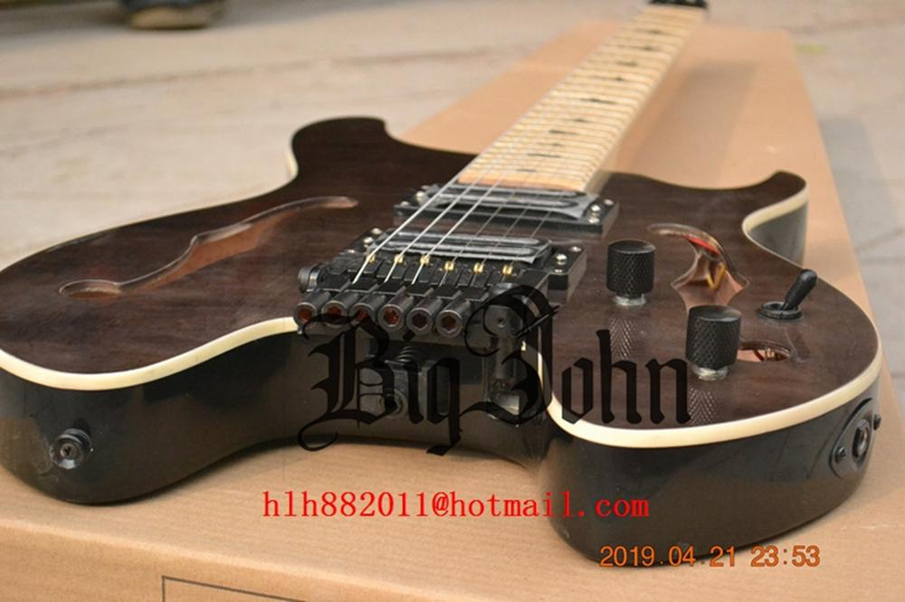 New Fan Fretted Semi Hollow Gray Headless Electric Guitar,Double Track Pickup Mahogany Body BJ-172