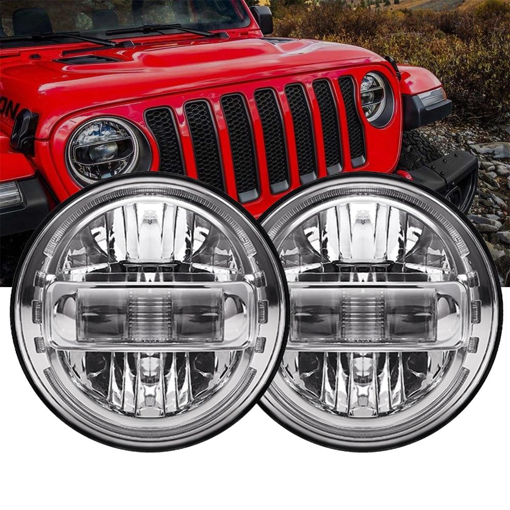 7 بوصة LED المصابيح الأمامية الجمعية مع DRL عالية منخفضة شعاع و 4 بوصة الضباب مصباح للسيارة الجيب رانجلر JK 2007-2018 LJ CJ TJ 97-18 Jeep JL