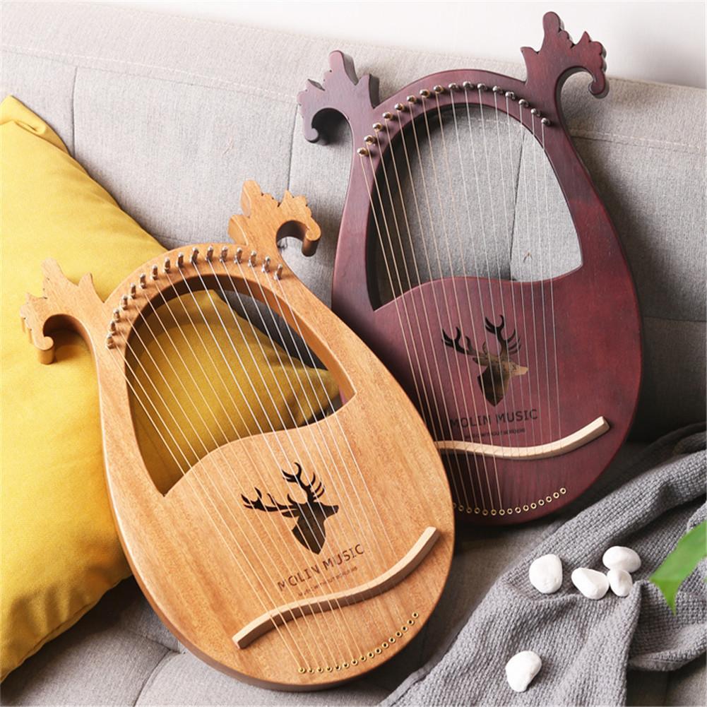 16-note lira harpa conjunto duro mogno portátil duro com chave de ajuste preto saco de armazenamento harpa conjunto presente perfeito para amigos
