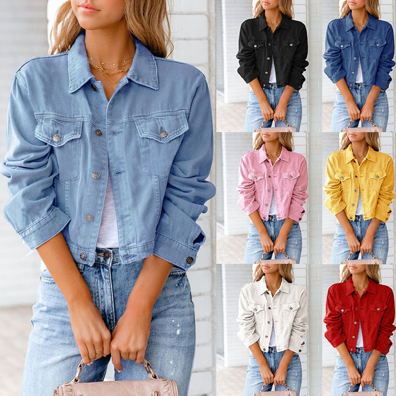 Crop Denim Jacket Women Puff Sleeve 2021 Summer Street Korean Fashion Designer Short Blue Jean Coat