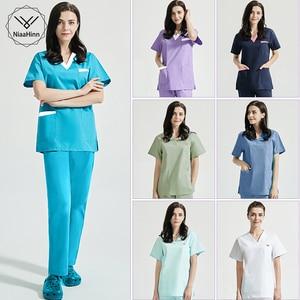 Short-sleeved Health services tops Beauty salon Work uniforms working shirt Scrubs tops summer pet scrubs costume women clothes