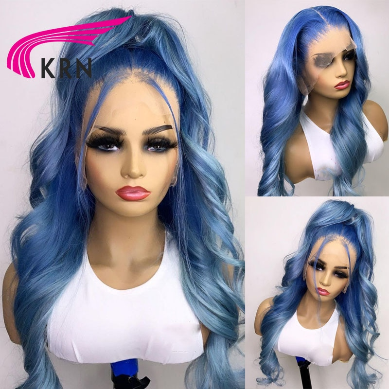 Blue Color 613 Frontal Wig Brazilian Remy Wavy Lace Front Wigs Human Hair Wigs For Human Women With Baby Hair