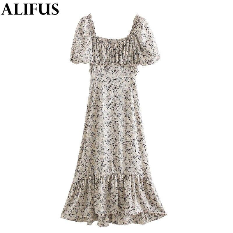 Fashion Za Women's dress 2020 Floral Print Chic Square Collar Short Sleeve Casual Loose Dresses Female Ladies Vestidos