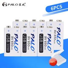 PALO 6 stücke USB 9 V 6F22 650mAh Akku 9 volt schnelle lade lithium-li-ion li ionen liion batterien