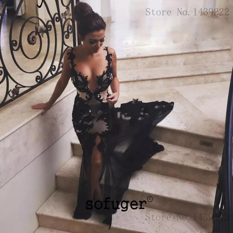Black Sexy V Neck Backless Mermaid Evening Dresses Prom Long Court Train Arabic Special Occasion Rob