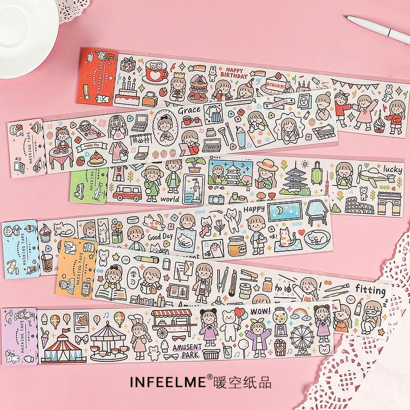 Kawaii Повседневная жизнь живая забавная серия милые детские разделяющие васи маскирующие наклейки Скрапбукинг Канцелярские Декоративные длинные полосы ленты