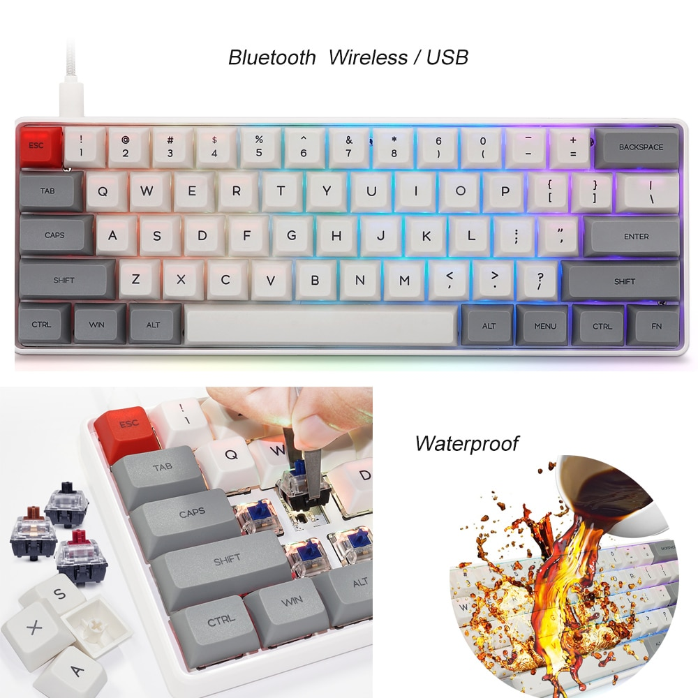 Sale 61 keys Wireless Bluetooth-compatible Illuminated Gaming Keyboard Mechanical Keyboard For Game Laptop PC teclado mecanico