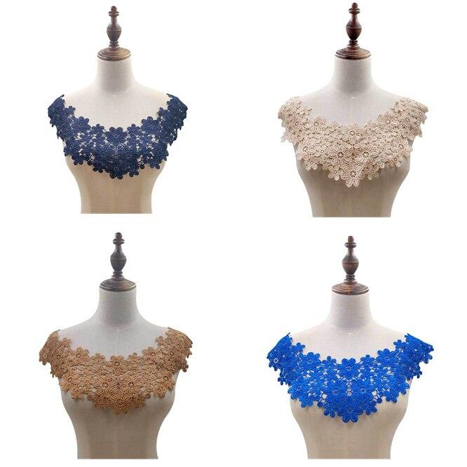 10 unids/lote 3D bordado en forma de flor Collar busto parches de encaje soluble en agua collar de poliéster parche accesorio para ropa