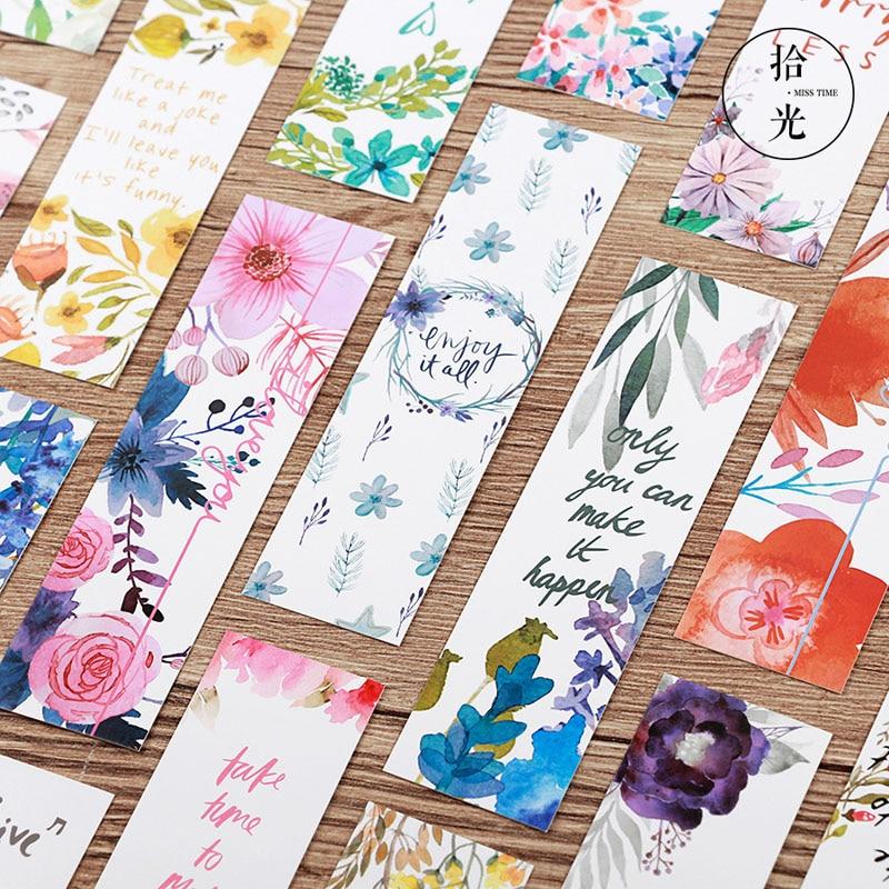 30 шт./компл., красивые цветы, закладки, карты сообщений, записные книжки, бумажный держатель для книг, школьные офисные принадлежности, канцелярские принадлежности