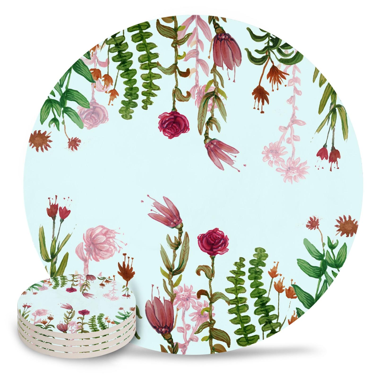 زهرة مائية مستديرة كوستر طاولة القهوة الحصير طاولة المطبخ اكسسوارات ماصة قاعدة خزف للأكواب