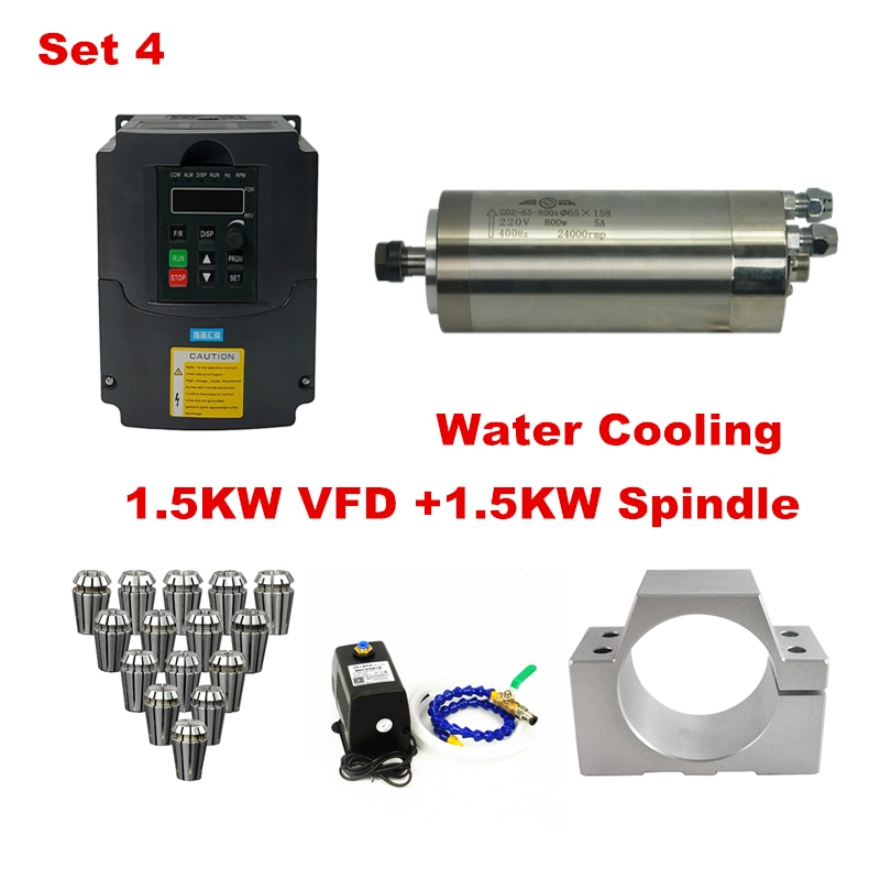 1.5KW VFD 800W 1.5KW air cooled water cooling spindle clamp for diy cnc milling machine Water Pump 3M Water Pipe cnc milling spindle er16 1 5kw water cooling spindle water pump water pipe spindle support