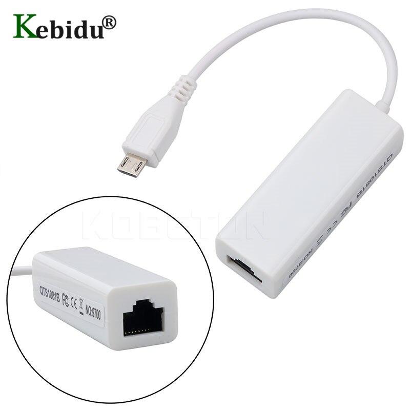 Kebidu 10/100 mbps rj45 adaptadores micro usb à placa de rede rj45 micro cabo ethernet usb 2.0 para android computador portátil tablets
