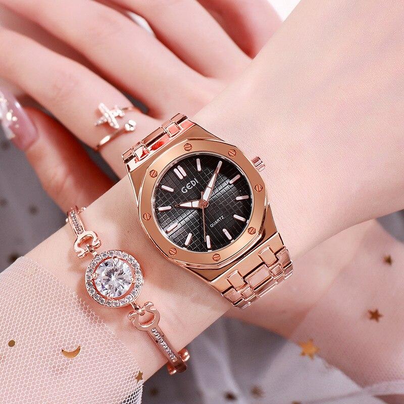 Top Luxury Fashion Diamond Women Watch Steel Luxury Ladies Crystal Rhinestone Quartz Watches Casual Dress Wristwatch Clock Gift