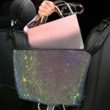 85% Hot Sales!!! Seat Back Organizer Luxurious Rhinestone Flannel Backseat Holding Container for Han