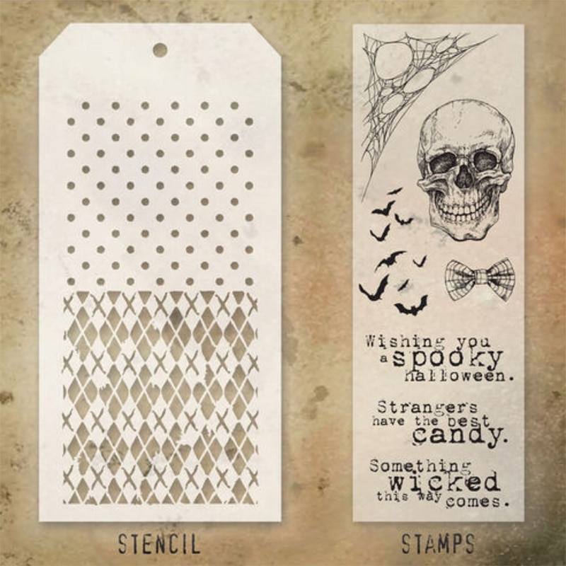 2021 New Halloween Skull Retro Clear Stamps and Stencil Set For DIY Making Word Greeting Card Scrapbooking No Metal Cutting Dies