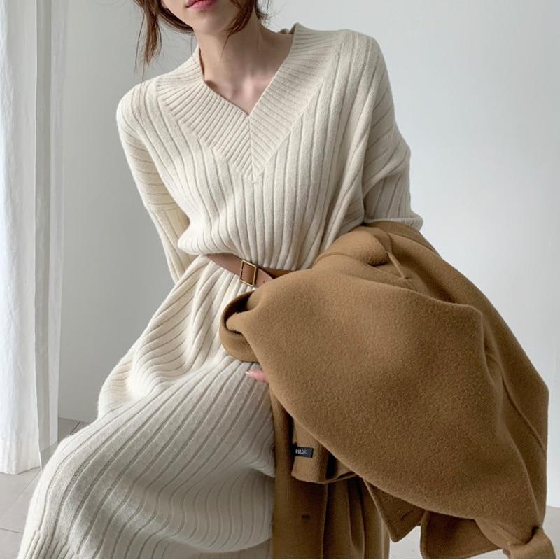 فستان نسائي محبوك, فستان خريفي جديد 2020 بأكمام طويلة ، سترات محاكة كبيرة الحجم