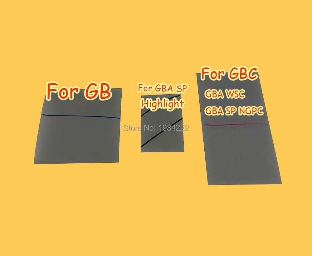 Polarizada polarizador de película de filtro hoja para Gamboy GB para GBA SP destacar para GBC GBA WSC GBA SP NGPC pantalla retroiluminada modificar parte