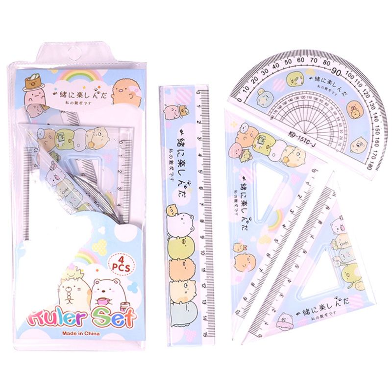 4pcs/set Kawaii Cartoon Straight Triangle Ruler Protractor Drafting Drawing School Office Supplies Student Stationery
