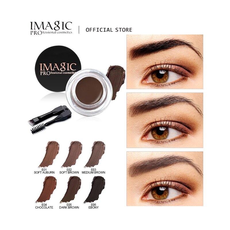 IMAGIC Professional Eyebrow Gel 6 Colors Eyebrow Enhancer Brow Enhancers Tint Makeup Eyebrow Brown With Brow Brush Tools недорого