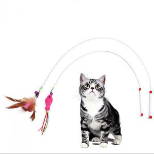 1PC Feather Cat Rod Toy Pet Wand Teasing with Beads Steel Wire  Kitten Interactive Scratching Playing Training Toys