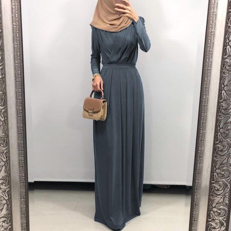 فستان ماكسي عباية بأكمام طويلة للسيدات بتصميم متقاطع وفتحة رقبة على شكل v وخصر عالي مطوي ورداء رمضان دبي حجاب قفطان إسلامي