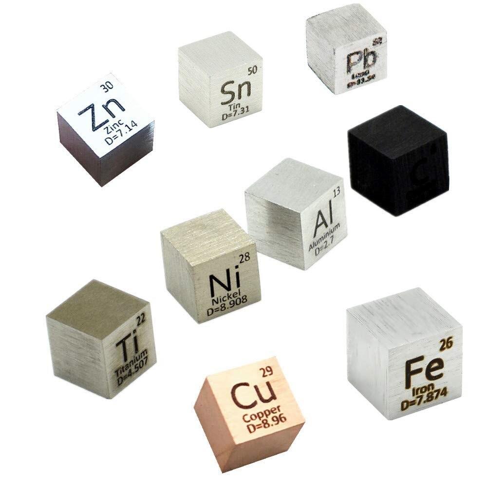 9 قطعة مكعب عنصر 10 مللي متر مكعبات كثافة المعادن اليومية المعادن الدورية الجدول جمع Fe Cu النيكل التيتانيوم آل C القصدير الزنك