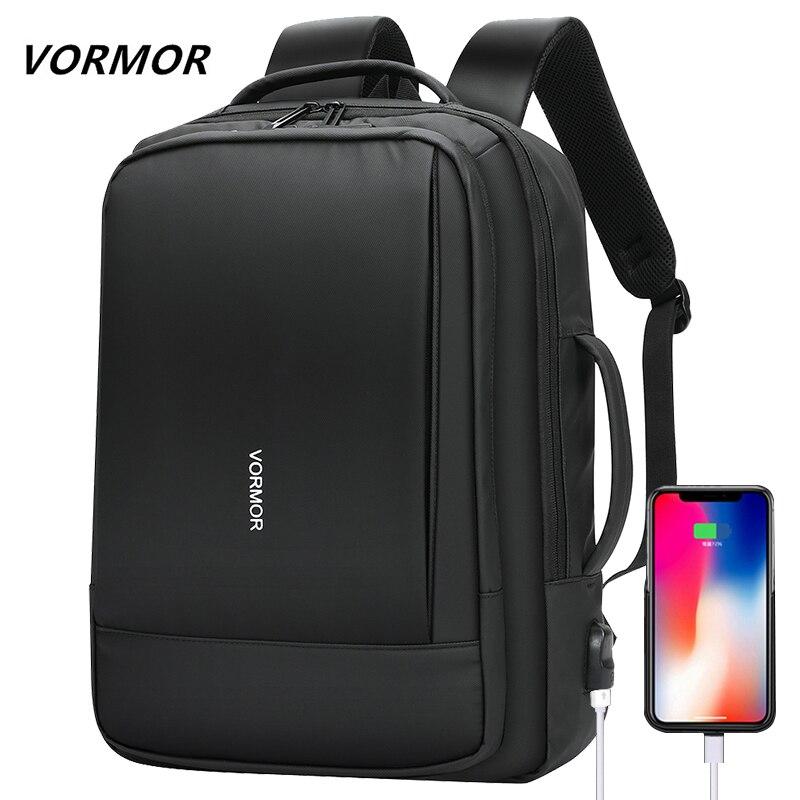 العلامة التجارية حقيبة كمبيوتر محمول الرجال 15.6 بوصة مكتب العمل الرجال على ظهره حقيبة أعمال سوداء الظهر