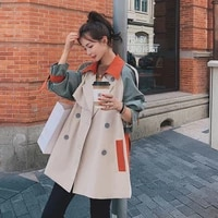 british style elegant patchwork 2021 new spring women trench coat loose short outerwear with belt fashion female windbreaker