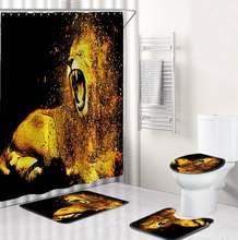 1/3pcs 3D Lion Waterproof Shower Curtain Bathroom Toilet Seat Cover Mat Home Room Carpets Rugs Bath Mat