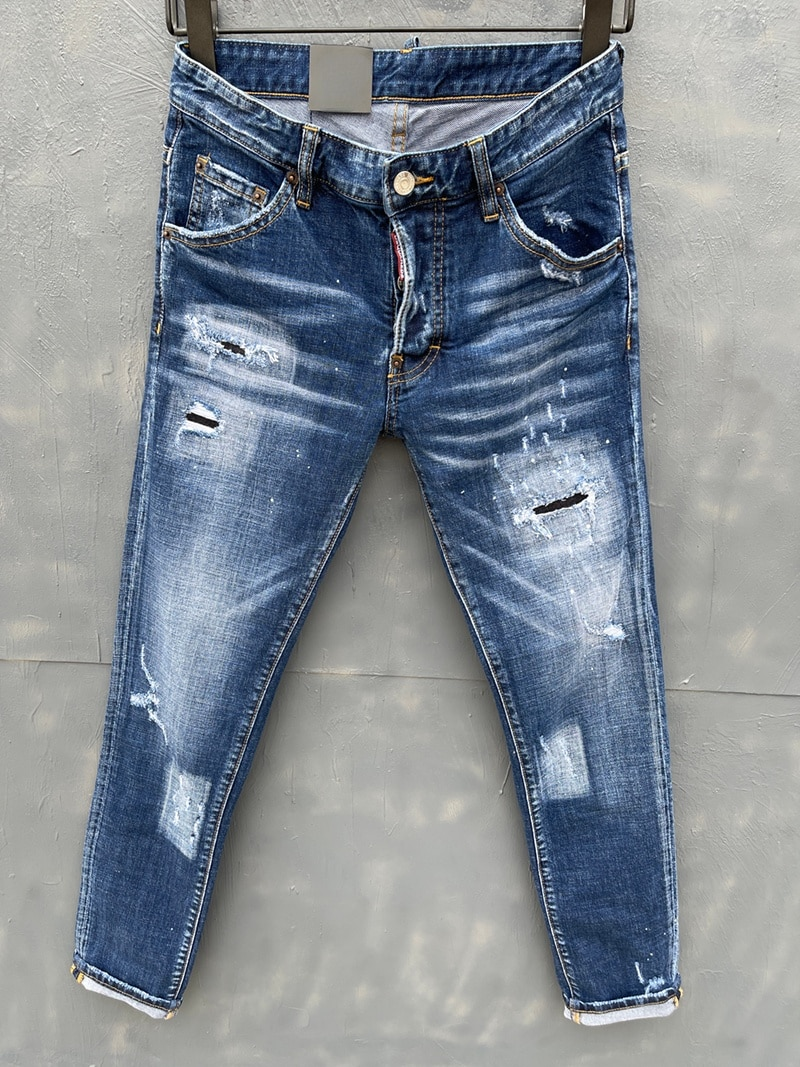 European style dsq brand men Italy jeans pants Men Slim biker denim jeans straight trousers hole blue Pants jeans for men