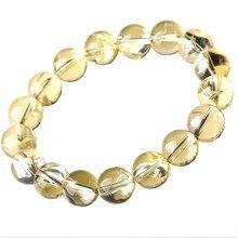 4a Azeztulite jaune arc-en-ciel cristal rond bracelet 10/12/14/16MM 17cm en gros pour lénergie de cadeau de noël