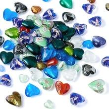 100 pièces fait à la main feuille de verre au chalumeau coeur perles 12-20x12-21mm aléatoire couleurs mélangées amour coeur doux coeur breloque perle
