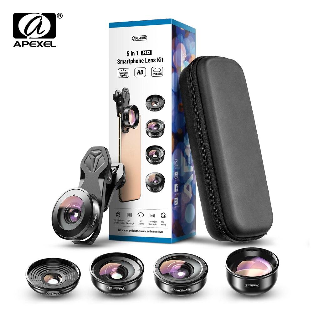 APEXEL Professional 5 en 1 lente del teléfono de la Cámara kit 4K HD lente de gran telescopio macro super ojo de pez para iPhone Samsung todo smartphone