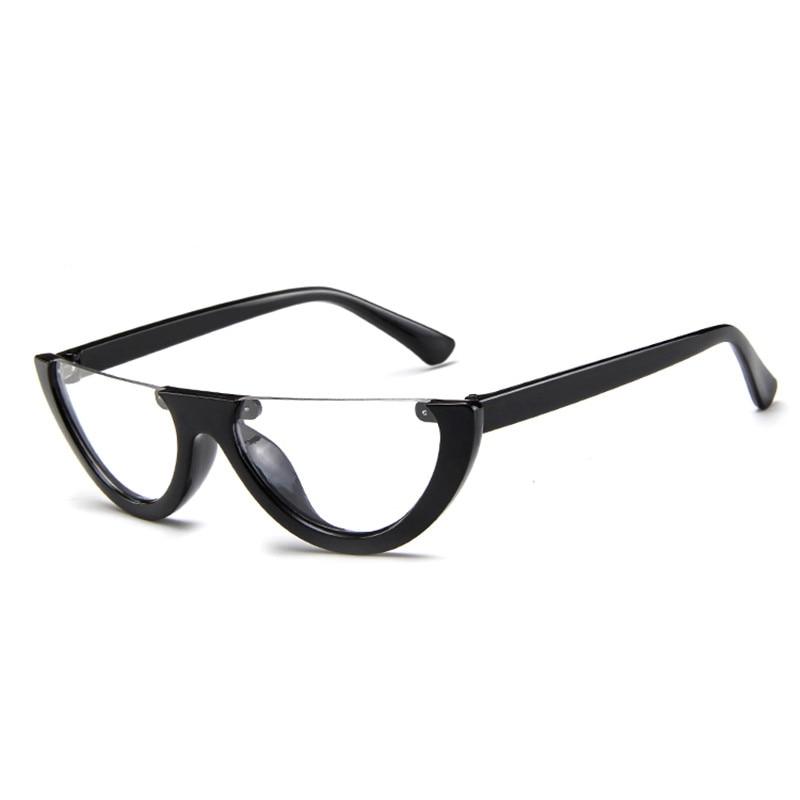 Black Small Women's Sunglasses Fashion 2020 Luxury Brand Vintage Flat Top Half Frame Cat Eye Sunglas