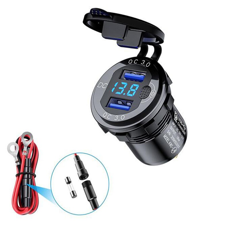 New Car Dual QC3.0 USB Charger 18W Quick Charger 12V/24V Waterproof With Voltmeter Switch For Motorcycles ATV Boat Marine RV Car marine radio antenna car waterproof rubber duck dipole flexible marine fm am modulators for car boat yacht atv utv rv tractor