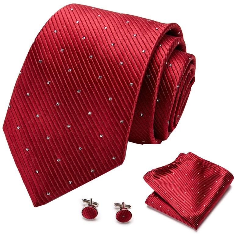 100% Silk Tie Set for Men Plaid Necktie Sets Cufflik Pocket Square Wine red    Mens Suit Tie Handkerchief cufflinks недорого