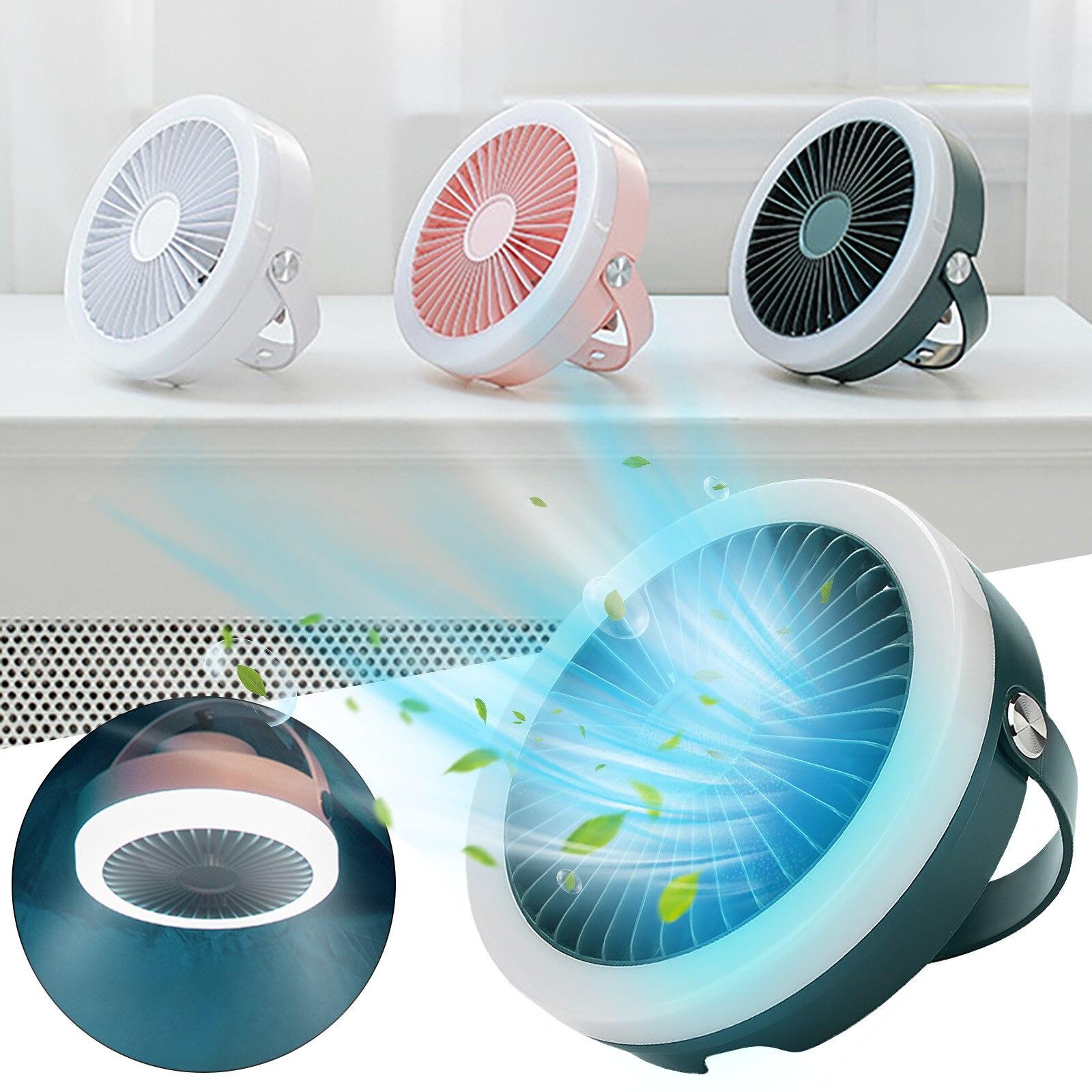 Ventilador de Controle Remoto com Luz Portátil ao ar Ventiladores de Refrigeração de Viagem Ventilador de Teto Carprie Mini Anel Recarregável Livre Indoor Desktop Usb